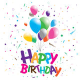 Happy birthday on a party background. Happy birthday with multicolored balloons. Royalty Free Stock Photo