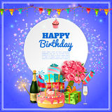 Happy birthday party background poster. Happy birthday party template for background or invitation card with cake champagne and decorations abstract vector Stock Image