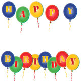 Happy Birthday Party Ballons. Happy Birthday 3D multi coloured Blue ballons Stock Images