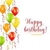 Happy Birthday and Party Balloon Invitation Card Royalty Free Stock Image
