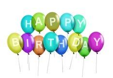 Happy Birthday Party Balloons. Over white Royalty Free Stock Photos