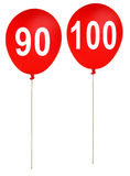 Happy birthday party balloons ages 90,100 -  isola Stock Photo
