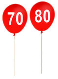 Happy birthday party balloons ages 70, 80 -  isolated on white b Royalty Free Stock Photo