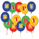 Happy Birthday Party Balloons Background. 3D coloured Happy Birthday Party Balloons Royalty Free Stock Photos