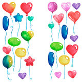 Happy birthday Party balloons Colorful air balloons for invitation postcards Wedding posters Watercolor illustration. Happy birthday Party balloons Colorful air Royalty Free Stock Photos