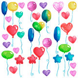 Happy birthday Party balloons Colorful air balloons for invitation postcards Wedding posters Watercolor illustration. Happy birthday Party balloons Colorful air Stock Photo