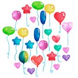 Happy birthday Party balloons Colorful air balloons for invitation postcards Wedding posters Watercolor illustration. Happy birthday Party balloons Colorful air Royalty Free Stock Photo