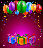 Happy Birthday party with balloons and gift background. Illustration of Happy Birthday party with balloons and gift background Royalty Free Stock Image