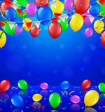 Happy Birthday party with balloons and ribbons background stock photography