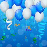 Happy Birthday party with balloons and ribbons background Stock Photos
