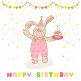 Happy Birthday and Party Card. Baby Shower or Arrival Card - Baby Bear with Air Balloon - in vector Stock Photography