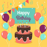 Happy Birthday Party card with cake and ballons. Vector illustration. Stock Image