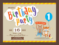 Happy birthday party card design template vector illustration