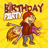 Happy Birthday Party Card Funny Girl and Boy Stock Photos