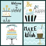Happy Birthday Party cards set stock illustration