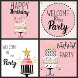Happy Birthday Party cards set. With cake, cupcake, topper, candles and lettering text. Vector hand drawn illustration Royalty Free Stock Photo