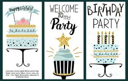 Happy Birthday Party cards. Set with cake, cupcake, topper, candles and lettering text. Vector hand drawn illustration stock illustration