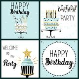 Happy Birthday Party cards set Royalty Free Stock Photography