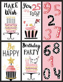 Happy Birthday Party cards set Stock Photo