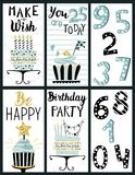 Happy Birthday Party cards set Royalty Free Stock Images