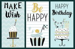 Happy Birthday Party cards set. With cake, cupcake, topper, candles and lettering text. Vector hand drawn illustration stock illustration