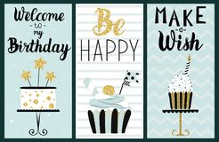 Happy Birthday Party cards set. With cake, cupcake, topper, candles and lettering text. Vector hand drawn illustration royalty free illustration