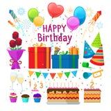 Happy birthday party cartoon elements Royalty Free Stock Photo