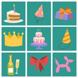Happy birthday party celebration cards entertainment confetti present balloon decoration for holiday fun anniversary. Happy birthday party celebration cards vector illustration