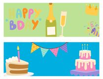 Happy birthday party celebration cards entertainment confetti present balloon decoration for holiday fun anniversary. Happy birthday party celebration cards royalty free illustration