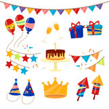 Happy Birthday Party Celebration Elements Set Royalty Free Stock Photography