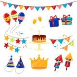 Happy Birthday Party Celebration Elements Set. Vector illustration Royalty Free Stock Photography