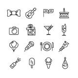 Happy birthday party celebration, surprised couple fun line vector icons Stock Images
