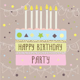 Happy birthday party ,cute card with cake and candles. Vector illustration royalty free illustration