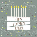 Happy birthday party ,cute card with cake and candles. Vector illustration Stock Photography