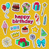 Happy Birthday Party Decoration Doodle with Stickers, Badges and Patches Balloons, Gift and Sweets. Vector illustration Stock Images