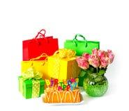 Happy Birthday Party decoration gift box flowers. Happy Birthday! Party decoration gift box and flowers royalty free stock photos