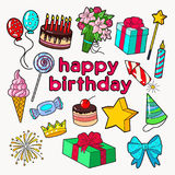 Happy Birthday Party Decoration Set with Balloons, Gift and Sweets. Vector illustration Stock Images