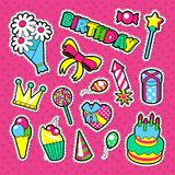 Happy Birthday Party Decoration Stickers. Kids Holiday Elements Set. Vector illustration Stock Photography