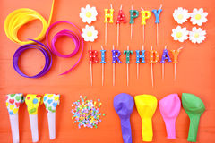 Happy Birthday Party Decorations Background Stock Photo