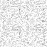 Happy birthday party doodle black and white seamless pattern Stock Photos