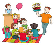 Happy birthday party with friends stock image