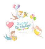 Happy birthday party greeting card invitation funny people chara Stock Photography