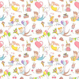 Happy birthday party greeting seamless pattern funny people char Stock Photography