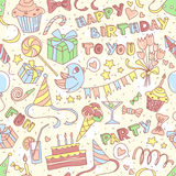 Happy birthday party greeting seamless pattern with hand drawn l Royalty Free Stock Images