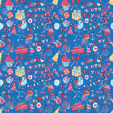 Happy birthday party greeting seamless pattern with hand drawn l Stock Photography