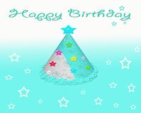 Happy Birthday Party Hat Card with Stars Royalty Free Stock Photography