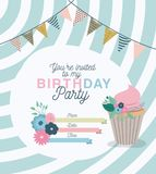 Happy birthday party invitation with floral decoration and cupcake Stock Images