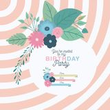 Happy birthday party invitation with floral decoration Royalty Free Stock Photo