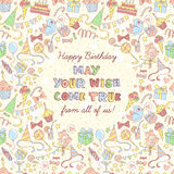 Happy birthday party invitation with hand drawn pattern and lett Stock Image