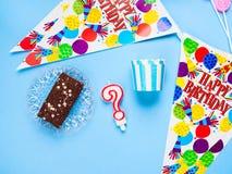 Happy Birthday party items flat lay Royalty Free Stock Image